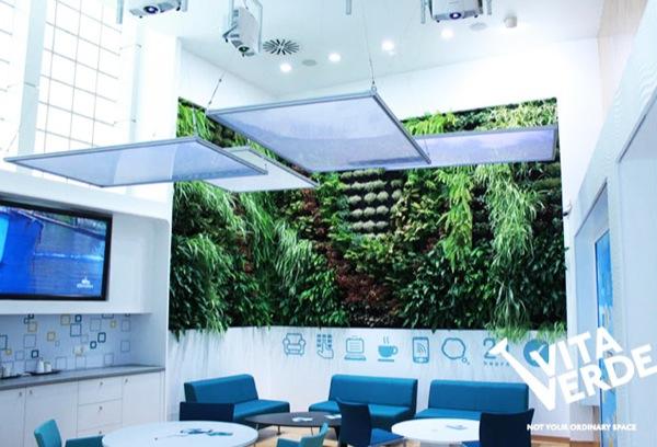 Jard n vertical en unas oficinas de tesal nica abilia i for Jardin vertical oficina