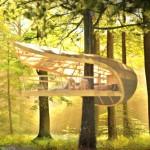 Casas del árbol en los bosques de Canadá