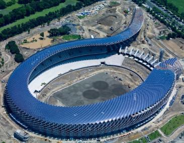 El estadio Solar con forma de dragón, Taiwán