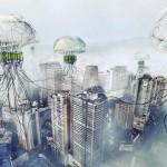 Rascacielos-Medusas flotantes: purifican el agua y el aire