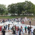 Pista de Skate que funciona como contención y drenaje frente a inundaciones