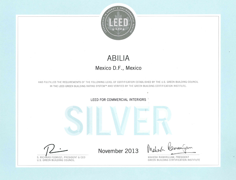 Oficinas de Abilia reciben certificación LEED Silver