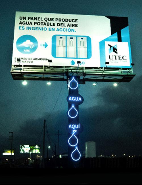 Un cartel publicitario que produce agua potable del aire