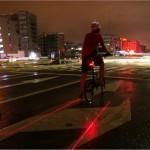 Luz LED que crea un carril para limitar el espacio de las bicicletas