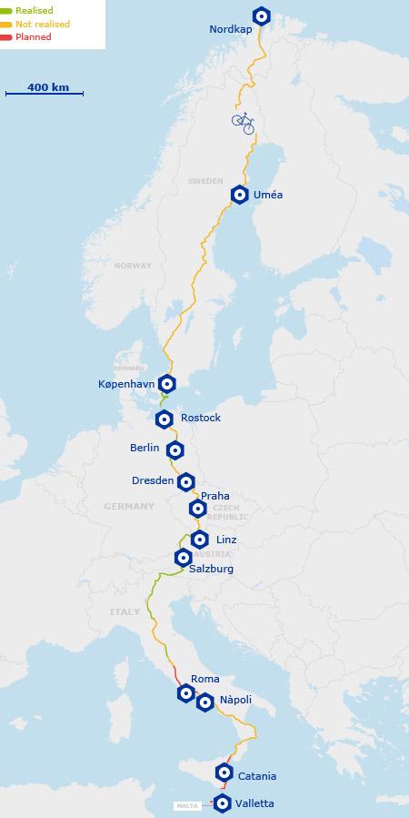 """""""EuroVelo"""": una red de 14 ciclovías que conectará 43 países europeos"""