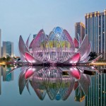Lotus Building, una flor de loto florece en China